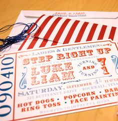 Love love Calligraphy Etc..  They did a girl twist on this circus invite for me and I'm in love!