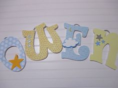 OWEN  11.00 PER LETTER Boy's name 9 wooden by AnniesBowKisses