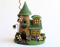 Miniature  Charming Green Roof Fairy Cottage House OOAK by C. Rohal