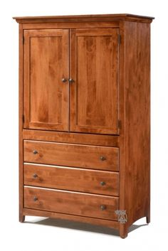 Hoot Judkins Furniture|San Francisco|San Jose|Bay Area|Archbold Furniture|Bedroom|Solid Alder Shaker 3 Drawer Wardrobe Armoire in Antique Cherry