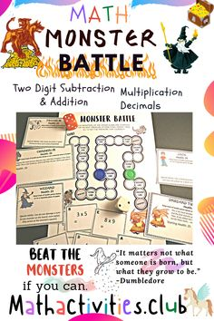 Monster Battle is a printable math board game perfect for a math center in an elementary or middle school classroom. Three board games are included which cover math topics; multiplication, two digit subtraction and addition, and adding and subtracting decimals. You students will love this dice game where they get to choose a character and be the hero. Great for 3rd grade through to 6th grade. Multiplayer board game, from 2 players to 4 players. A fun math board perfect for a math club.