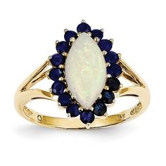14k Opal and Sapphire Ring