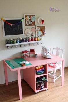 Ana White-The Handbuilt Home Sewing Table from BeingBrook i also like this as a desk in a shared room. Idea for kids arts and crafts table Small Sewing Space, Sewing Spaces, Small Spaces, Kids Craft Tables, Kid Table, Table Desk, Kids Art Table, Lego Table, Craft Kids