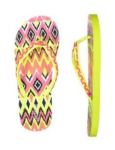 ba651f002 Neon Braided Tribal Flip Flops Justice Shoes