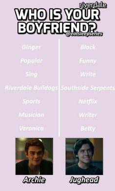Who is your boyfriend? Archie or Jughead? The post Who is your boyfriend? Archie or Jughead… appeared first on Riverdale Memes. Riverdale Quotes, Bughead Riverdale, Riverdale Funny, Archie Jughead, Betty And Jughead, Lili Reinhart And Cole Sprouse, I Dont Fit In, Riverdale Characters, Riverdale Cole Sprouse