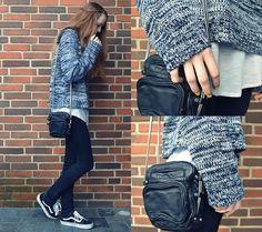 Secondhand Knitted Jumper, Alexander Wang Mini Brenda Bag, 5units Skinny Jeans, Vans Old Skool