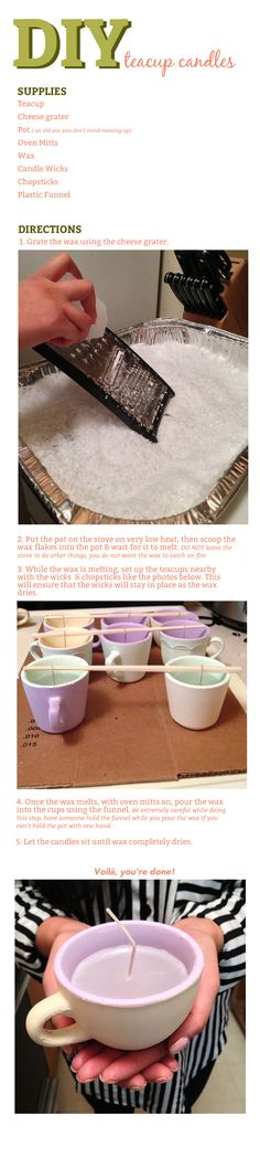 Great idea for those thrift store tea cups. I'd use soy wax and add some natural fragrance. Blowfish Shoes Blog - DIY: Teacup Candles