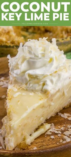 Coconut Key Lime Pie Tart, fruity and sweet this Coconut Key Lime Pie is one of the best and most loved dessert pies! This pie even had coconut IN the crust! Coconut Key Lime Pie Recipe, Coconut Custard Pie, Keylime Pie Recipe, Coconut Cream, Fall Dessert Recipes, Pie Dessert, Cupcake Recipes, Delicious Desserts, Dessert Ideas