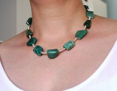 Chrysocolla and sterling silver necklace. Teal green statement necklace. Unique…