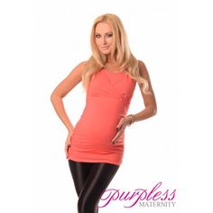 2 IN 1 MATERNITY AND NURSING TOP 7005 CORAL - Maintain your pre-bump style throughout your pregnancy and breastfeeding with fashionable and affordable 2 in 1 maternity and nursing top. This sleveless 2 in 1 top has been designed by Purpless to give you comfort and style during your pregnancy and whilst breastfeeding without spending too much on your pregnancy and post pregnancy wardrobe.