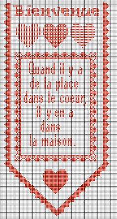 bienvenue Cross Stitch Love, Cross Stitch Patterns, Embroidery Alphabet, Blackwork, Monochrome, Needlework, Free Pattern, Shabby, Kids Rugs