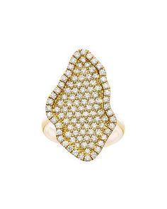 J9155 Kimberly McDonald 18k Gold Pavé Diamond Geode-Shaped Ring, Size 6
