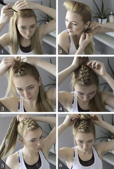 workout hairstyle: dutch braid topknot Best Picture For Volleyball Hairstyles natural For Your Taste Athletic Hairstyles, Sporty Hairstyles, Side Braid Hairstyles, Workout Hairstyles, Cute Hairstyles, Ballet Hairstyles, Hairstyles For The Gym, Active Hairstyles, Running Hairstyles