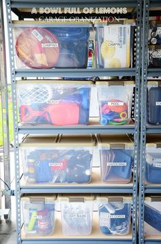 Toni Bowl Full of Lemons shares her impressive garage organization tips to inspire you to tackle your own messy garage! : Toni Bowl Full of Lemons shares her impressive garage organization tips to inspire you to tackle your own messy garage! Organisation Hacks, Garage Organization Tips, Do It Yourself Organization, Storage Bin Organization, Storage Baskets, Garage Storage Bins, Clean Garage, Garage Shed, Home Organization