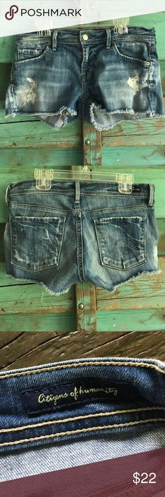 Citizens of humanity shorts Cute cut offs. Perfect for summer. Short length, fun wash. I wear a 27 in jeans and these were just a hair too small. Citizens of Humanity Shorts Jean Shorts