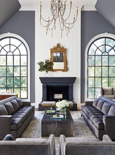 Beautiful luxury all grey living room decor with grey velvet sofas and grey stone fireplace Living Room Table Sets, Buy Living Room Furniture, Living Room Paint, Living Room Grey, Formal Living Rooms, Home Living Room, Living Room Designs, Bedroom Table, Stone Fireplace Decor