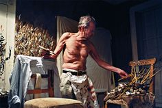 Lucian Freud in his studio in the photograph entitled Working at Night.  Photograph: David Dawson