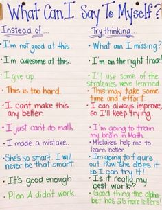 we-get-shit-done:  bibliophilenycmom:  This is hanging on the wall in Lily's classroom. I love this! Teaches you to replace the self deprecating thoughts with positive encouraging thoughts in our own inner monologues. What a great message to kids.  THIS. IS. SO. FUCKING. GREAT!!! - Hal