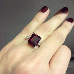 Alexandra Radiant Cut Ruby Engagement Ring | Sterling Silver #rubyrings