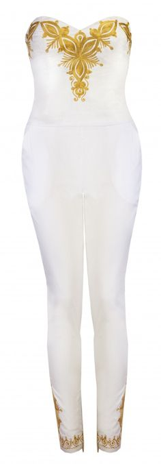 Standout in the crowd in this super stylish all white jumpsuit with Gold embroidery on bust, back and legs. Skinny leg with side zips, fully boned upper half, side pockets on trousers 98% Cotton 2% elastane I'm truly special…dry clean only! This product has been made with TLC in our studio [...]