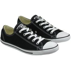 Converse Womens Shoes All Star Ox Dainty Black ($71) ❤ liked on Polyvore featuring shoes, sneakers, hi tops, black trainers, black high-top sneakers, black high low top and high top sneakers