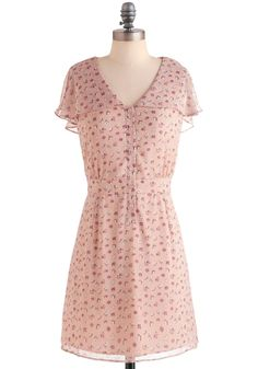 What Do You Pink? Dress - Mid-length, Pink, Floral, Casual, Short Sleeves, Spring, Multi