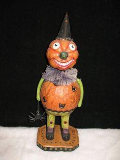 Collectible,  adorable Halloween Pumpkin Man with a Creepy Spider #Halloween