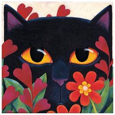 Black Cat 'n' Flowers – From our'Call of the Wild' card range by Vicky Mount. We feel that with this range Vicky has captured the essence of cats, personality, behaviour and their interaction with the people they own. Black Cat Art, Black Cats, Cat Quilt, Cat Colors, Arte Pop, Cat Drawing, Cat Gifts, Dog Art, Crazy Cats