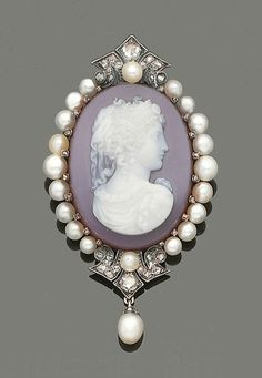 Late 19th century hardstone, pearl and diamond cameo brooch.