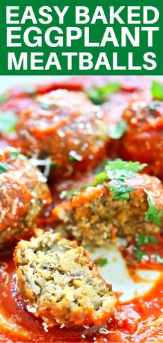 """Incredible """" meatless"""" meatballs made with hearty eggplant, flavor-packed mushrooms, garlic, and cilantro, formed into these crazy good balls of delicious joy that you MUST try! Kid-friendly and perfect for spaghetti and meatball dinners! Vegetarian Meatballs, Vegetarian Recipes Dinner, Vegetable Recipes, Meat Recipes, Cooking Recipes, Healthy Recipes, Meatless Dinner Ideas, Meatless Recipes, Eggplant Dishes"""