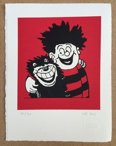 John Patrick Reynolds Comic Art_Dennis the Menace & Gnasher. Limited Edition Silkscreen Print on cotton paper signed by the printer Classic Cartoon Characters, Classic Cartoons, Cartoon Art, Cartoon Drawings, Hallway Art, Artwork For Living Room, Dennis The Menace, Cool Art Drawings, Silk Screen Printing