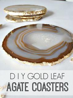 DIY Gold Leaf Agate Slice Coasters