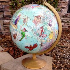 Made To Order Disney Story Book Globe Featuring Any Characters Princess Jasmine Pocahontas Peter Pan Malificent Lion King Genie Rapunzel on Etsy, $94.99