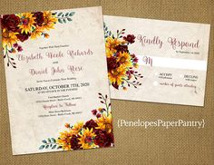 Romantic Rustic Fall Wedding Invitation,Sunflowers,Mums,Yellow,Burgundy,Parchment,Shabby Chic,Printed Invitation,Wedding Set,Ivory Envelopes