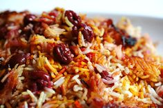 Persian Sour Cherry Saffron Rice (Polow), the crunchy crust on the bottom is the BEST part!