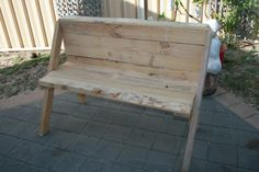 A bench made out of pallets
