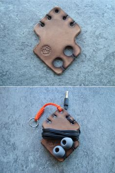 Simple leather earphone holder