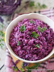 Tasty Dumpling: Salad from red cabbage a& coleslaw - Tasty Pyza checked recipes: Salad of red cabbage a& coleslaw - Mexican Food Recipes, Whole Food Recipes, Cooking Recipes, Red Cabbage Salad, Salad Dishes, Raw Vegetables, Veggies, Polish Recipes, Polish Food