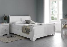 Best Louie Sleigh Bed Polar White New White Wooden Bed 640 x 480