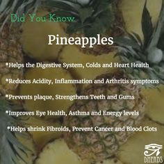 The power of the . ..It's way more than just a sweet fruit. #SuperFruit #DidYouKnow #Pineapple #RepairsDamage #DigestiveSystem #FightsTheCold #ImproveHeartHealth #LowersAcidity #ReducesInflammation #HelpsArthritis #PreventsPlaque #StrengthensTeeth #HelpsTheGums #ImprovesEyeHealth #AsthmaHelp #GetYourEnergyUp *ShrinksFibroids #PreventsCancer #StopsBloodClots #PineapplesDoSoMuch #PineapplesAreGood #FruitsWithBenefits #Superfood #SuperPowers #FruitOftheDay #Dherbs #HealthTipOftheDay