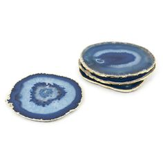 Jonathan Adler Blue and Gold Agate Coasters
