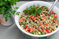 Classic Tabouli Salad ... also great with pita chips or crackers as a healthy dip!  www.thekitchenismyplayground.com #tabouli #taboulleh