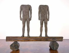 Two Figues on a Beam, Magdalena Abakanowicz