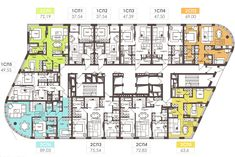 Æèëîé êîìïëåêñ White Lines. Commercial Building Plans, Townhouse Apartments, Co Housing, Apartment Floor Plans, Architecture Plan, Pent House, Building Design, House Plans, House Design