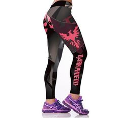 Fashion Active Women Sporting Leggings Sexy Fitness Pants Floral Gothic Wide Workout Clothing Waisted Sportswear 4L7