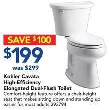 Kohler Cavata High-Efficiency Elongated Dual-Flush Toilet from Lowe's $199.00 (33% Off) -