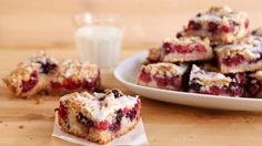 These bars boast all the flavors of classic berry cobbler, but in a convenient, portable cookie-bar form. What's not to love?