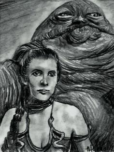 ACEO STAR WARS PRINCESS LEIA JABBA'S SLAVE Original Sketch Card by MIRACLE  #Miniature
