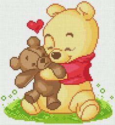 Winnie the Pooh baby teddy bear cross stitch