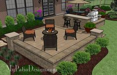 Patio with Outdoor Bar and Seat Wall | Patio Designs and Ideas